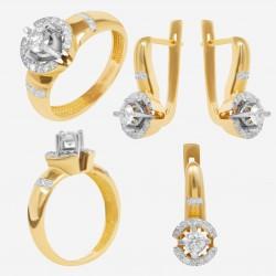 Золотой комплект с бриллиантом, арт. 230421.04.02