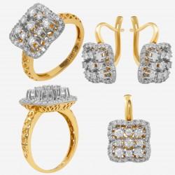 Золотой комплект с бриллиантом, арт. 230421.04.03