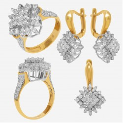 Золотой комплект с бриллиантом, арт. 230421.04.06