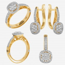 Золотой комплект с бриллиантом, арт. 230421.04.08