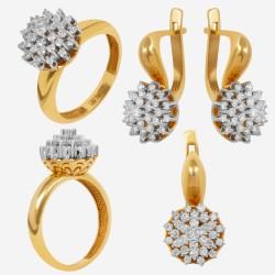 Золотой комплект с бриллиантом, арт. 230421.04.10