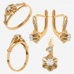 Золотой комплект с бриллиантом, арт. 230421.04.15