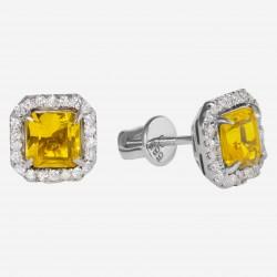 Золотые серьги с цитрином, арт. 290321.03.25