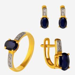 Золотой комплект, кольцо и серьги с сапфиром, арт. 300321.03.01