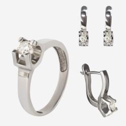 Золотой комплект, кольцо и серьги с бриллиантом, арт. 300321.03.02