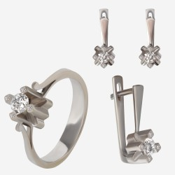 Золотой комплект, кольцо и серьги с бриллиантом, арт. 300321.03.03