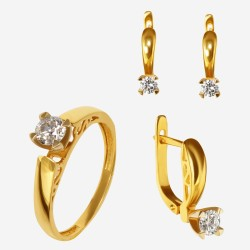 Золотой комплект, кольцо и серьги с бриллиантом, арт. 300321.03.04