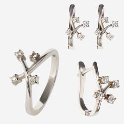 Золотой комплект, кольцо и серьги с бриллиантом, арт. 300321.03.05