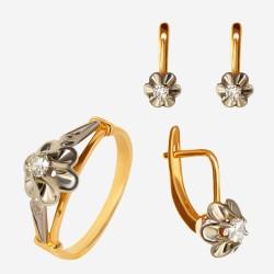 Золотой комплект, кольцо и серьги с бриллиантом, арт. 300321.03.06