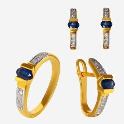 Золотой комплект, кольцо и серьги с сапфиром, арт. 300321.03.07