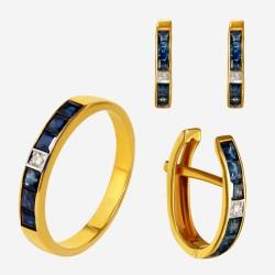 Золотой комплект, кольцо и серьги с сапфиром, арт. 300321.03.08