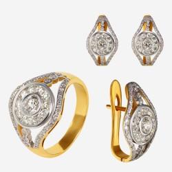 Золотой комплект, кольцо и серьги с бриллиантом, арт. 300321.03.09