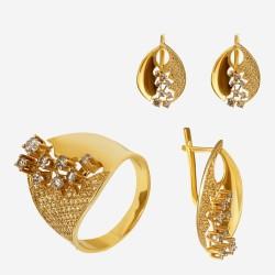 Золотой комплект, кольцо и серьги с бриллиантом, арт. 300321.03.10