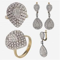 Золотой комплект, кольцо и серьги с бриллиантом, арт. 300321.03.11