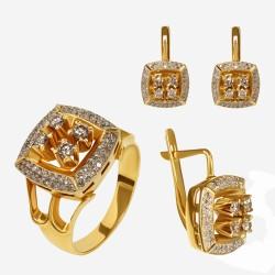 Золотой комплект, кольцо и серьги с бриллиантом, арт. 300321.03.12