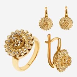 Золотой комплект, кольцо и серьги с бриллиантом, арт. 300321.03.13