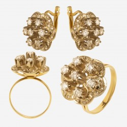 Золотой комплект, кольцо и серьги с бриллиантом, арт. 300321.03.14