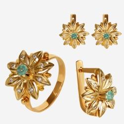 Золотой комплект, кольцо и серьги с изумрудом, арт. 310321.03.02