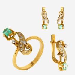 Золотой комплект, кольцо и серьги с изумрудом, арт. 310321.03.03