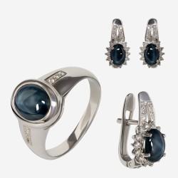 Золотой комплект, кольцо и серьги с сапфиром, арт. 310321.03.05