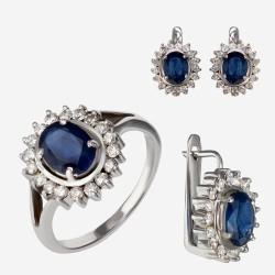 Золотой комплект, кольцо и серьги с сапфиром, арт. 310321.03.06