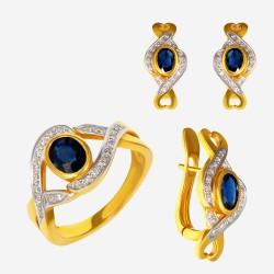 Золотой комплект, кольцо и серьги с сапфиром, арт. 310321.03.07