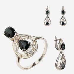 Золотой комплект, кольцо и серьги с сапфиром, арт. 310321.03.08