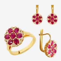 Золотой комплект, кольцо и серьги с рубином, арт. 310321.03.09