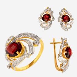 Золотой комплект, кольцо и серьги с гранатом, арт. 310321.03.10