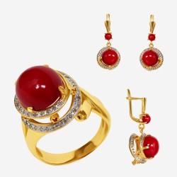 Золотой комплект, кольцо и серьги с кораллом, арт. 310321.03.11