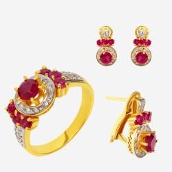 Золотой комплект, кольцо и серьги с рубином, арт. 310321.03.12