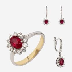 Золотой комплект, кольцо и серьги с рубином, арт. 310321.03.13