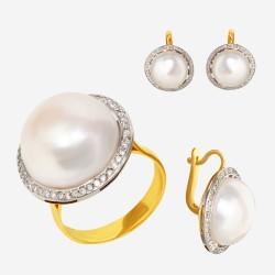 Золотой комплект, кольцо и серьги с жемчугом, арт. 310321.03.14