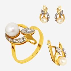 Золотой комплект, кольцо и серьги с жемчугом, арт. 310321.03.15