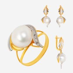 Золотой комплект, кольцо и серьги с жемчугом, арт. 310321.03.16