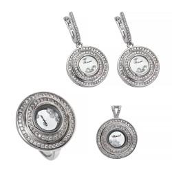 Серебряный комплект, кольцо, серьги и подвеска, арт. 161219.02.08