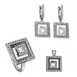 Серебряный комплект, кольцо, серьги и подвеска, арт. 161219.02.18