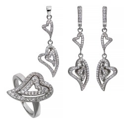 Серебряный комплект, кольцо, серьги и подвеска, арт. 161219.02.20