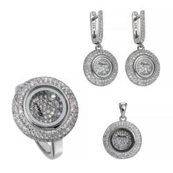Серебряный комплект, кольцо, серьги и подвеска, арт. 161219.02.21