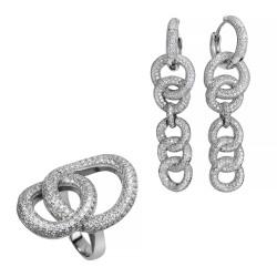 Серебряный комплект, кольцо и серьги, арт. 171219.02.05