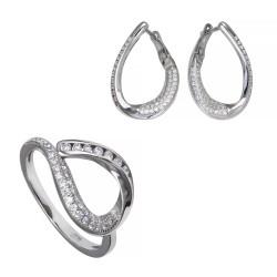 Серебряный комплект, кольцо и серьги, арт. 171219.02.85